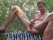 Wank in forest