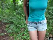 Adorable blonde cutie sucks and fucks random dude outdoors