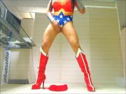 Sexy Sissy Crossdresser dancing in Wonder Woman Leotard