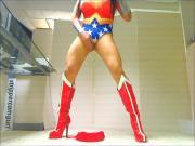 Sexy Sissy Crossdresser dancing in Wonder Woman Leotard