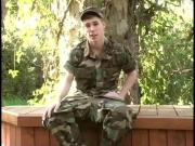 Hot young military jerking off