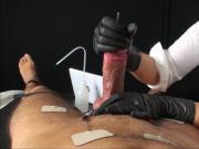 Handjob with estim and urethral sound