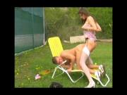 Strap-on fuck at tennis
