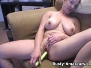 Busty amateur Gabriella sucking cock after hot striptease