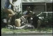 Threesome outdoor fucking in the street