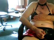 Playing in PVC Bikini, with Cheer Skirt & Cum Shot