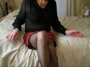 Transvestite Secretary Christina Teases..Knickers Down