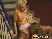 Amateur homemade threesome with cum on tits