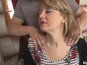 Old mother-in-law jumps on his big cock