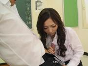 Smoking hot Asian teacher sucking hard on the dick