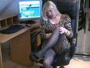 Cougar Secretary Slut In Black Pantyhose