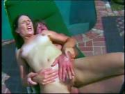 Sexy babe gets her pink pussy licked and fucked outdoors