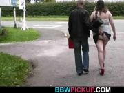 Fat chick is picked up for cock riding