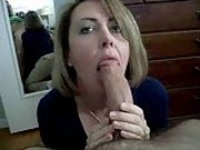 Mom deepthroating dad and swollow his cum