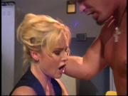 Gorgeous blonde with big tits gets fucked in the gym by an athlete