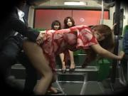 Japanese girl watch another girl in a bus