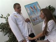 Dirty nurse gets really wet for doctor's cock