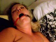 Tied slut wife being used
