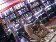 Old salesman fuck young gf in porn shop