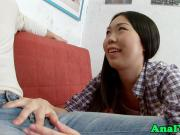 Asian teen anally fucked on couch