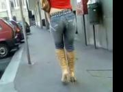 Hot ass walking in jeans boots