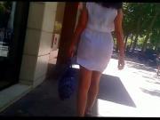 White dress visible thong