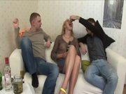 Drunken russian teen Veronika gets all her holes filled MMF