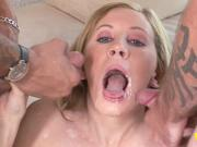 Gorgeous blonde Cara Dee takes on two members
