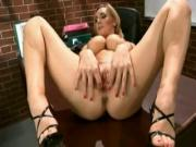 British slut Tanya in solo action on the desk