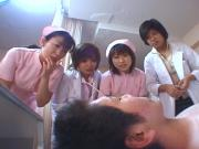 Japanese dentist and nurse licking and spitting on patients