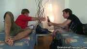 Old blonde cleaning woman is banged by two younger dudes