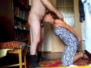 Slave Wife on her knees blowing Master's Cock