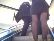 escalator upskirt skinny legs