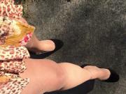 Walking outside in my sexy high heels!