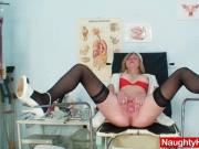 Blond-haired big juggs cougar gaping cooter on gynochair