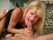 Mature tanned blonde in action.