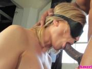 Blindfolded tgirl sucks black cock