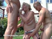 Cock teasing MILF double fucked in the garden