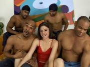 Gangbang of White Chick & 4 Black Cocks