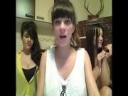 Three girls get naked on webcam