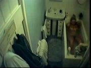 My mum rubbing pussy in bath tube. Hidden cam