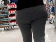 Candid latina with a big ass in gray sweats.