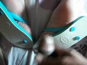 cum feet flip flops