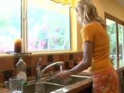 Blonde Milf in the kitchen