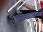 Stupid leggy Asian cumslut shows her pantyhose upskirt P2