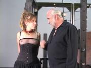Blonde freaky girl do want to be bondaged on strange slave room