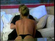 Blonde hottie takes a big one between her legs