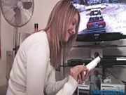 British slut masturbates with video game controllers