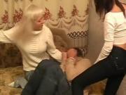 2 russian femdoms make him to fuck