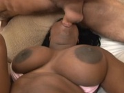 Big titted black girl banging two white dicks